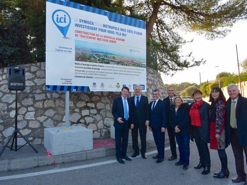 Lancement des travaux préparatoires en janvier 2017 en présence de M. Christian ESTROSI, Président de la Métropole Nice Côte d'azur, de M. Louis NEGRE, président du SYMISCA et des élus du SYMISCA.
